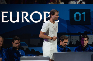 GENEVA, SWITZERLAND - SEPTEMBER 20: Rafael Nadal of Team Europe reacts during Day 1 of the Laver Cup 2019 at Palexpo on September 20, 2019 in Geneva, Switzerland. The Laver Cup will see six players from the rest of the World competing against their counterparts from Europe. Team World is captained by John McEnroe and Team Europe is captained by Bjorn Borg. The tournament runs from September 20-22. (Photo by RvS.Media/Robert Hradil/Getty Images)