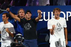 GENEVA, SWITZERLAND - SEPTEMBER 22: Team Europe celebrate in the singles match between Dominic Thiem of Team Europe and Taylor Fritz of Team World during Day Three of the Laver Cup 2019 at Palexpo on September 22, 2019 in Geneva, Switzerland. The Laver Cup will see six players from the rest of the World competing against their counterparts from Europe. Team World is captained by John McEnroe and Team Europe is captained by Bjorn Borg. The tournament runs from September 20-22. (Photo by Julian Finney/Getty Images for Laver Cup)