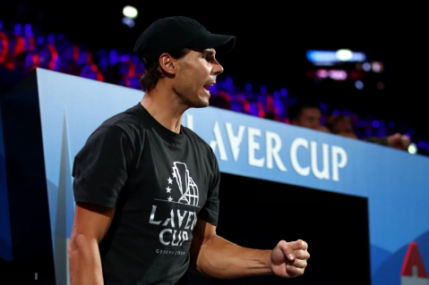 GENEVA, SWITZERLAND - SEPTEMBER 22: Rafael Nadal of Team Europe celebrates in the doubles match between Stefanos Tsitsipas, playing partner of Roger Federer of Team Europe and Jack Sock, playing partner of John Isner of Team World during Day Three of the Laver Cup 2019 at Palexpo on September 22, 2019 in Geneva, Switzerland. The Laver Cup will see six players from the rest of the World competing against their counterparts from Europe. Team World is captained by John McEnroe and Team Europe is captained by Bjorn Borg. The tournament runs from September 20-22. (Photo by Clive Brunskill/Getty Images for Laver Cup )