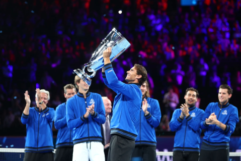 GENEVA, SWITZERLAND - SEPTEMBER 22: Rafael Nadal of Team Europe lifts the Laver Cup trophy after winning the Laver Cup in the final match of the tournament during Day Three of the Laver Cup 2019 at Palexpo on September 22, 2019 in Geneva, Switzerland. The Laver Cup will see six players from the rest of the World competing against their counterparts from Europe. Team World is captained by John McEnroe and Team Europe is captained by Bjorn Borg. The tournament runs from September 20-22. (Photo by Clive Brunskill/Getty Images for Laver Cup )