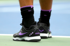NNEW YORK, NEW YORK - SEPTEMBER 08: A detailed view of shoes worn by Rafael Nadal of Spain are seen during his Men's Singles final match against Daniil Medvedev of Russia on day fourteen of the 2019 US Open at the USTA Billie Jean King National Tennis Center on September 08, 2019 in the Queens borough of New York City. (Photo by Mike Stobe/Getty Images)