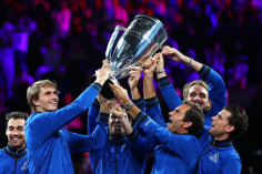 GENEVA, SWITZERLAND - SEPTEMBER 22: Alexander Zverev and Roger Federer of Team Europe lift the Laver Cup trophy after winning the Laver Cup in the final match of the tournament during Day Three of the Laver Cup 2019 at Palexpo on September 22, 2019 in Geneva, Switzerland. The Laver Cup will see six players from the rest of the World competing against their counterparts from Europe. Team World is captained by John McEnroe and Team Europe is captained by Bjorn Borg. The tournament runs from September 20-22. (Photo by Clive Brunskill/Getty Images for Laver Cup )
