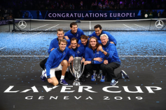 GENEVA, SWITZERLAND - SEPTEMBER 22: Team Europe pose with the trophy after winning the Laver Cup in the final match of the tournament during Day Three of the Laver Cup 2019 at Palexpo on September 22, 2019 in Geneva, Switzerland. The Laver Cup will see six players from the rest of the World competing against their counterparts from Europe. Team World is captained by John McEnroe and Team Europe is captained by Bjorn Borg. The tournament runs from September 20-22. (Photo by Julian Finney/Getty Images for Laver Cup)
