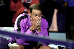 NEW YORK, NEW YORK - SEPTEMBER 08: Rafael Nadal of Spain reacts before the trophy presentation ceremony after winning his Men's Singles final match against Daniil Medvedev of Russia on day fourteen of the 2019 US Open at the USTA Billie Jean King National Tennis Center on September 08, 2019 in the Queens borough of New York City. (Photo by Al Bello/Getty Images)