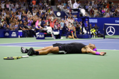 NNEW YORK, NEW YORK - SEPTEMBER 08: Rafael Nadal of Spain celebrates after winning his Men's Singles final match against Daniil Medvedev of Russia on day fourteen of the 2019 US Open at the USTA Billie Jean King National Tennis Center on September 08, 2019 in the Queens borough of New York City. (Photo by Mike Stobe/Getty Images)