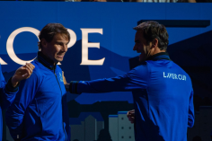 GENEVA, SWITZERLAND - SEPTEMBER 20: Rafael Nadal and Roger Federer of Team Europe reacts during Day 1 of the Laver Cup 2019 at Palexpo on September 20, 2019 in Geneva, Switzerland. The Laver Cup will see six players from the rest of the World competing against their counterparts from Europe. Team World is captained by John McEnroe and Team Europe is captained by Bjorn Borg. The tournament runs from September 20-22. (Photo by RvS.Media/Robert Hradil/Getty Images)