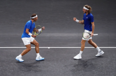 GENEVA, SWITZERLAND - SEPTEMBER 21: Stefanos Tsitsipas of Team Europe and playing partner Rafael Nadal celebrate in their doubles match against Jack Sock and Nick Kyrgios of Team World during Day Two of the Laver Cup 2019 at Palexpo on September 21, 2019 in Geneva, Switzerland. The Laver Cup will see six players from the rest of the World competing against their counterparts from Europe. Team World is captained by John McEnroe and Team Europe is captained by Bjorn Borg. The tournament runs from September 20-22. (Photo by Julian Finney/Getty Images for Laver Cup)