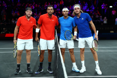 GENEVA, SWITZERLAND - SEPTEMBER 21: Jack Sock, playing partner of Nick Kyrgios of Team World and Rafael Nadal, plying partner of Stefanos Tsitsipas of Team Europe pose for a photo prior to their doubles match during Day Two of the Laver Cup 2019 at Palexpo on September 21, 2019 in Geneva, Switzerland. The Laver Cup will see six players from the rest of the World competing against their counterparts from Europe. Team World is captained by John McEnroe and Team Europe is captained by Bjorn Borg. The tournament runs from September 20-22. (Photo by Clive Brunskill/Getty Images for Laver Cup)