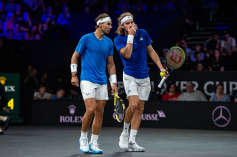 GENEVA, SWITZERLAND - SEPTEMBER 21: Rafael Nadal of Team Europe and Stefanos Tsitsipas of Team Europe reacts during Day 2 of the Laver Cup 2019 at Palexpo on September 21, 2019 in Geneva, Switzerland. The Laver Cup will see six players from the rest of the World competing against their counterparts from Europe. Team World is captained by John McEnroe and Team Europe is captained by Bjorn Borg. The tournament runs from September 20-22. (Photo by RvS.Media/Monika Majer/Getty Images)