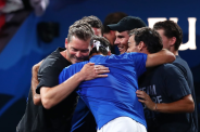 GENEVA, SWITZERLAND - SEPTEMBER 22: Roger Federer of Team Europe celebrates victory with teammates after his singles match against John Isner of Team World during Day Three of the Laver Cup 2019 at Palexpo on September 22, 2019 in Geneva, Switzerland. The Laver Cup will see six players from the rest of the World competing against their counterparts from Europe. Team World is captained by John McEnroe and Team Europe is captained by Bjorn Borg. The tournament runs from September 20-22. (Photo by Clive Brunskill/Getty Images for Laver Cup )