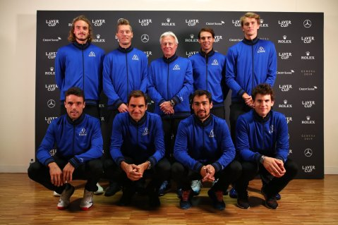 GENEVA, SWITZERLAND - SEPTEMBER 19: (Back Row L-R) Stefanos Tsitsipas, Thomas Enqvist, Vice Captain of Team Europe, Bjorn Borg, Captain of Team Europe, Rafael Nadal, Alexander Zverev, (Front Row L-R) Roberto Bautista Agut, Roger Federer, Fabio Fognini and Dominic Thiem of Team Europe pose for a photo before attending a press conference ahead of the Laver Cup 2019 at Palexpo on September 19, 2019 in Geneva, Switzerland. The Laver Cup will see six players from the rest of the World competing against their counterparts from Europe. Team World is captained by John McEnroe and Team Europe is captained by Bjorn Borg. The tournament runs from September 20-22. (Photo by Clive Brunskill/Getty Images for Laver Cup)