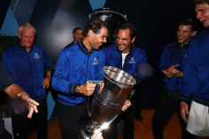 GENEVA, SWITZERLAND - SEPTEMBER 22: Rafael Nadal and Roger Federer of Team Europe celebrate in the locker room after winning the Laver Cup during Day Three of the Laver Cup 2019 at Palexpo on September 22, 2019 in Geneva, Switzerland. The Laver Cup will see six players from the rest of the World competing against their counterparts from Europe. Team World is captained by John McEnroe and Team Europe is captained by Bjorn Borg. The tournament runs from September 20-22. (Photo by Clive Brunskill/Getty Images for Laver Cup )