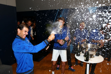 GENEVA, SWITZERLAND - SEPTEMBER 22: Rafael Nadal of Team Europe celebrates in the locker room after winning the Laver Cup during Day Three of the Laver Cup 2019 at Palexpo on September 22, 2019 in Geneva, Switzerland. The Laver Cup will see six players from the rest of the World competing against their counterparts from Europe. Team World is captained by John McEnroe and Team Europe is captained by Bjorn Borg. The tournament runs from September 20-22. (Photo by Clive Brunskill/Getty Images for Laver Cup )