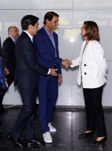 MADRID, SPAIN - OCTOBER 09: Rafa Nadal (2nd L) attends '42Madrid', the programming campus without classes, without teachers and without books that Fundación Telefónica has just opened at Fundacion Telefonica' on October 09, 2019 in Madrid, Spain. (Photo by Europa Press Entertainment/Europa Press via Getty Images)