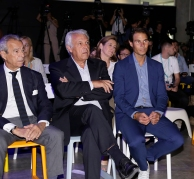 MADRID, SPAIN - OCTOBER 09: Rafa Nadal (R) attends '42Madrid', the programming campus without classes, without teachers and without books that Fundación Telefónica has just opened at Fundacion Telefonica' on October 09, 2019 in Madrid, Spain. (Photo by Europa Press Entertainment/Europa Press via Getty Images)