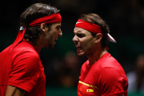 MADRID, SPAIN - NOVEMBER 20: Rafael Nadal and Feliciano Lopez of Spain celebrates during their third round doubles match Semi-Finals played against Neal Skupski and Jamie Murray of England during the Day 6 of the 2019 Davis Cup at La Caja Magica on November 23, 2019 in Madrid, Spain. (Photo by Oscar J. Barroso / AFP7 / Europa Press Sports via Getty Images)