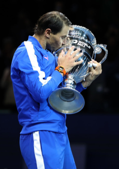 LONDON, ENGLAND - NOVEMBER 15: Rafael Nadal of Spain poses with his trophy after being announced as ATP Tour end of year world number one following his singles match against Stefanos Tsitsipas of Greece during Day Six of the Nitto ATP World Tour Finals at The O2 Arena on November 15, 2019 in London, England. (Photo by Linnea Rheborg/Getty Images)