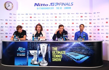 LONDON, ENGLAND - NOVEMBER 08: (L-R) Alexander Zverev of Germany, Stefanos Tsitsipas of Greece, Daniil Medvedev of Russia and Rafael Nadal of Spain speak to the media during previews for the Nitto ATP World Tour Finals at The O2 Arena on November 08, 2019 in London, England. (Photo by Clive Brunskill/Getty Images)