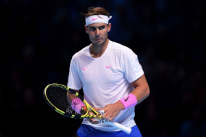 LONDON, ENGLAND - NOVEMBER 13: Rafael Nadal of Spain looks on in his singles match against Daniil Medvedev of Russia during Day Four of the Nitto ATP World Tour Finals at The O2 Arena on November 13, 2019 in London, England. (Photo by Justin Setterfield/Getty Images)