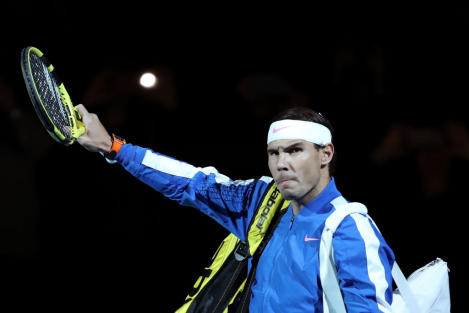 LONDON, ENGLAND - NOVEMBER 13: Rafael Nadal of Spain acknowledges the fans as he walks out prior to his singles match against Daniil Medvedev of Russia during Day Four of the Nitto ATP World Tour Finals at The O2 Arena on November 13, 2019 in London, England. (Photo by James Chance/Getty Images)