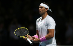 Rafael Nadal in action against Daniil Medvedev on day four of the Nitto ATP Finals at The O2 Arena, London. (Photo by Steven Paston/PA Images via Getty Images)