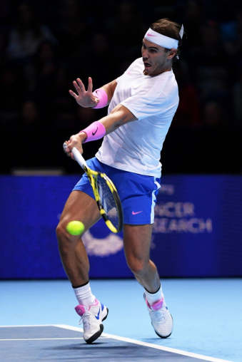 LONDON, ENGLAND - NOVEMBER 13: Rafael Nadal of Spain plays a forehand in his singles match against Daniil Medvedev of Russia during Day Four of the Nitto ATP World Tour Finals at The O2 Arena on November 13, 2019 in London, England. (Photo by Justin Setterfield/Getty Images)