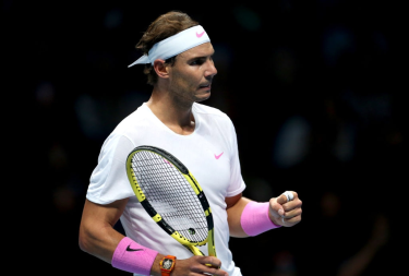 Rafael Nadal reacts during his singles match against Daniil Medvedev on day four of the Nitto ATP Finals at The O2 Arena, London. (Photo by Steven Paston/PA Images via Getty Images)