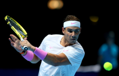 Rafael Nadal in action against Daniil Medvedev during their singles match on day four of the Nitto ATP Finals at The O2 Arena, London. (Photo by Steven Paston/PA Images via Getty Images)