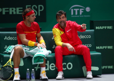 MADRID, SPAIN - NOVEMBER 24: Team captain Sergi Bruguera of Spain (R) speaks to Rafael Nadal of Spain (L) in his singles final match against Denis Shapovalov of Canada during Day Seven of the 2019 Davis Cup at La Caja Magica on November 24, 2019 in Madrid, Spain. (Photo by Clive Brunskill/Getty Images)
