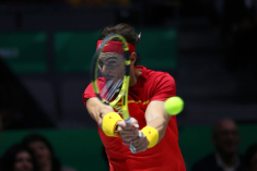 MADRID, SPAIN - NOVEMBER 24: Rafael Nadal of Spain plays a backhand in his singles final match against Denis Shapovalov of Canada during Day Seven of the 2019 Davis Cup at La Caja Magica on November 24, 2019 in Madrid, Spain. (Photo by Clive Brunskill/Getty Images)