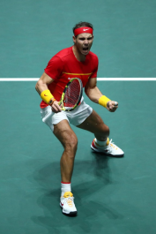 MADRID, SPAIN - NOVEMBER 24: Rafael Nadal of Spain celebrates in his singles final match against Denis Shapovalov of Canada during Day Seven of the 2019 Davis Cup at La Caja Magica on November 24, 2019 in Madrid, Spain. (Photo by Clive Brunskill/Getty Images)