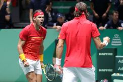 MADRID, SPAIN - NOVEMBER 23: Rafael Nadal of Spain and Feliciano Lopez of Spain celebrate holding a serve in their semi-final doubles match against Jamie Murray and Neal Skupski of Great Britain during Day 6 of the 2019 Davis Cup at La Caja Magica on November 23, 2019 in Madrid, Spain. (Photo by Alex Pantling/Getty Images)