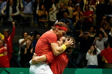 Rafael Nadal and Feliciano Lopez hug each other 2019 Davis Cup semis