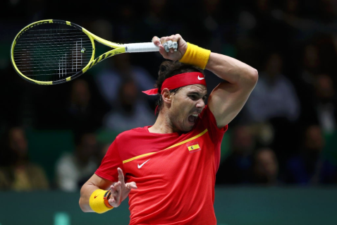 MADRID, SPAIN - NOVEMBER 23: Rafael Nadal of Spain plays a forehand in his semi-final singles match against Dan Evans of Great Britain during Day Six of the 2019 Davis Cup at La Caja Magica on November 23, 2019 in Madrid, Spain. (Photo by Clive Brunskill/Getty Images for LTA)