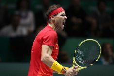 MADRID, SPAIN - NOVEMBER 23: Rafael Nadal of Spain celebrates after winning the first set in his semi-final singles match against Dan Evans of Great Britain during Day Six of the 2019 Davis Cup at La Caja Magica on November 23, 2019 in Madrid, Spain. (Photo by Alex Pantling/Getty Images)
