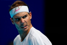 Spain's Rafael Nadal celebrates winning the second set against Russia's Daniil Medvedev during their men's singles round-robin match on day four of the ATP World Tour Finals tennis tournament at the O2 Arena in London on November 13, 2019. (Photo by Adrian DENNIS / AFP) (Photo by ADRIAN DENNIS/AFP via Getty Images)