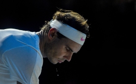 LONDON, ENGLAND - NOVEMBER 13: Rafael Nadal in thought during his match against Daniil Medvedev during Day Four of the Nitto ATP World Tour Finals at The O2 Arena on November 13, 2019 in London, England. (Photo by Hannah Fountain - CameraSport via Getty Images)