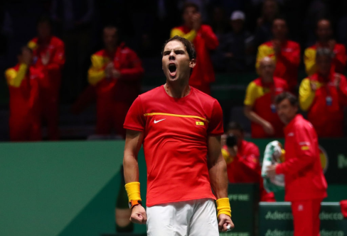 MADRID, SPAIN - NOVEMBER 19: Rafael Nadal of Spain celebrates following victory in the match against Karen Khachanov of Russia during Day 2 of the 2019 Davis Cup at La Caja Magica on November 19, 2019 in Madrid, Spain. (Photo by Clive Brunskill/Getty Images)