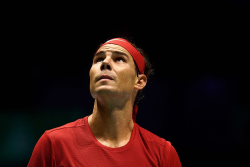 MADRID, SPAIN - NOVEMBER 19: Rafa Nadal of Spain looks up during his match against Karen Khachanov of Russia during Day two of the 2019 Davis Cup at La Caja Magica on November 19, 2019 in Madrid, Spain. (Photo by David Aliaga/MB Media/Getty Images)