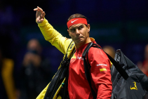 MADRID, SPAIN - NOVEMBER 19: Rafa Nadal of Spain enters the court prior to his match against Karen Khachanov of Russia during Day two of the 2019 Davis Cup at La Caja Magica on November 19, 2019 in Madrid, Spain. (Photo by David Aliaga/MB Media/Getty Images)
