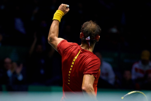 MADRID, SPAIN - NOVEMBER 19: Rafa Nadal of Spain celebrates a point during his match against Karen Khachanov of Russia during Day two of the 2019 Davis Cup at La Caja Magica on November 19, 2019 in Madrid, Spain. (Photo by David Aliaga/MB Media/Getty Images)