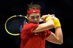 MADRID, SPAIN - NOVEMBER 19: Rafa Nadal of Spain in action during his match against Karen Khachanov of Russia during Day two of the 2019 Davis Cup at La Caja Magica on November 19, 2019 in Madrid, Spain. (Photo by David Aliaga/MB Media/Getty Images)