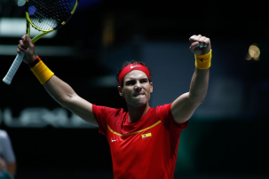 MADRID, SPAIN - NOVEMBER 19: Rafael Nadal, player of Spain Team, celebrates the victory during his match played against Karen Khachanov, player of Russia Team, during the Day 2 of the 2019 Davis Cup at La Caja Magica on November 19, 2019 in Madrid, Spain. (Photo by Oscar J. Barroso / AFP7 / Europa Press Sports via Getty Images)
