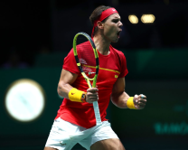 MADRID, SPAIN - NOVEMBER 19: Rafael Nadal of Spain celebrates during the match against Karen Khachanov of Russia during Day 2 of the 2019 Davis Cup at La Caja Magica on November 19, 2019 in Madrid, Spain. (Photo by Clive Brunskill/Getty Images)
