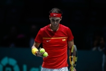 MADRID, SPAIN - NOVEMBER 19: Rafael Nadal, player of Spain Team, walks during his match played against Karen Khachanov, player of Russia Team, Day 2 of the 2019 Davis Cup at La Caja Magica on November 19, 2019 in Madrid, Spain. (Photo by Oscar J. Barroso / AFP7 / Europa Press Sports via Getty Images)
