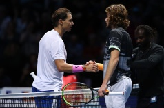LONDON, ENGLAND - NOVEMBER 15: Rafael Nadal of Spain and Stefanos Tsitsipas of Greece shake hands at the net after their singles match during Day Six of the Nitto ATP World Tour Finals at The O2 Arena on November 15, 2019 in London, England. (Photo by Julian Finney/Getty Images)