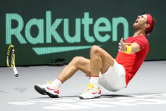 MADRID, SPAIN - NOVEMBER 24: Rafael Nadal of Spain celebrates match point in his singles final match against Denis Shapovalov of Canada which leads Spain to victory during Day Seven of the 2019 Davis Cup at La Caja Magica on November 24, 2019 in Madrid, Spain. (Photo by Alex Pantling/Getty Images)