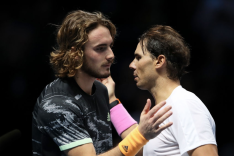 LONDON, ENGLAND - NOVEMBER 15: Rafael Nadal of Spain and Stefanos Tsitsipas of Greece embrace at the net after their singles match during Day Six of the Nitto ATP World Tour Finals at The O2 Arena on November 15, 2019 in London, England. (Photo by Linnea Rheborg/Getty Images)