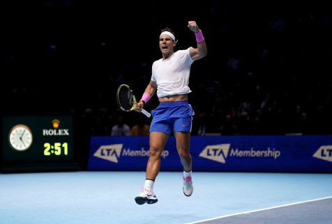 Rafael Nadal celebrates victory after winning his singles match against Stefanos Tsitsipas on day six of the Nitto ATP Finals at The O2 Arena, London. (Photo by John Walton/PA Images via Getty Images)