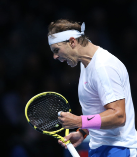 LONDON, ENGLAND - NOVEMBER 11: Rafael Nadal during his match against Alexander Zverev during Day Two of the Nitto ATP World Tour Finals at The O2 Arena on November 11, 2019 in London, England. (Photo by Rob Newell - CameraSport via Getty Images)